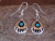 Navajo Indian Jewelry Sterling Silver Turquoise Bear Paw Dangle Earrings! HV009