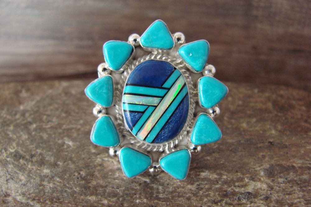 Zuni Navajo Sterling Silver Turquoise Lapis Opal Inlay Ring
